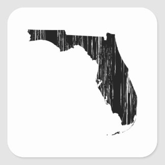 Distressed Florida State Outline Square Sticker