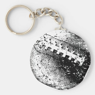 Distressed Football Graphic Basic Round Button Keychain