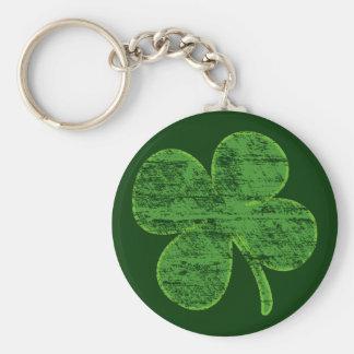 Distressed Four-Leaf Clover Keychain