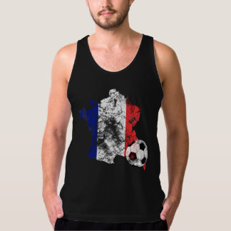 Distressed France Soccer Tank Top