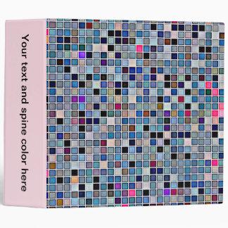 Distressed Funky Blue 'Bathroom Tiles' Pattern Binder