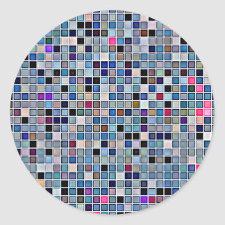 Distressed Funky Blue 'Bathroom Tiles' Pattern Classic Round Sticker