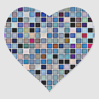 Distressed Funky Blue 'Bathroom Tiles' Pattern Heart Sticker