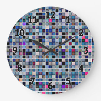 Distressed Funky Blue 'Bathroom Tiles' Pattern Large Clock
