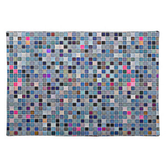 Distressed Funky Blue 'Bathroom Tiles' Pattern Cloth Placemat