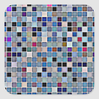 Distressed Funky Blue 'Bathroom Tiles' Pattern Square Sticker