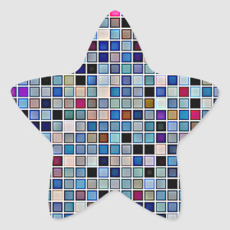 Distressed Funky Blue 'Bathroom Tiles' Pattern Star Sticker