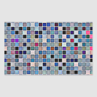 Distressed Funky Blue 'Bathroom Tiles' Pattern Rectangular Sticker
