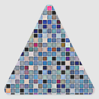 Distressed Funky Blue 'Bathroom Tiles' Pattern Triangle Sticker