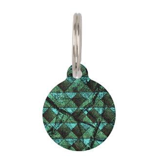 Distressed geometric pattern pet tag