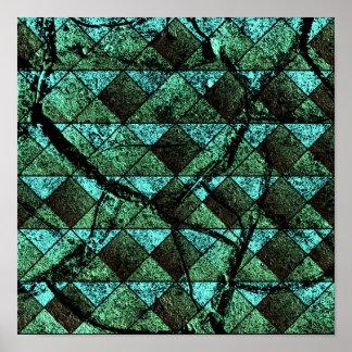 Distressed geometric pattern poster