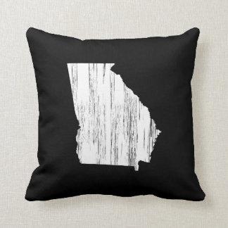 Distressed Georgia State Outline Throw Pillow