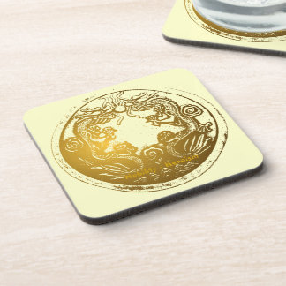 Distressed Golden Chinese Dragon Prosperity Wishes Coaster