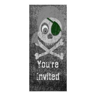 Distressed Gray Pirate Skull Invitations