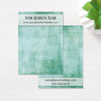 Distressed Green Earring Holder Display Card