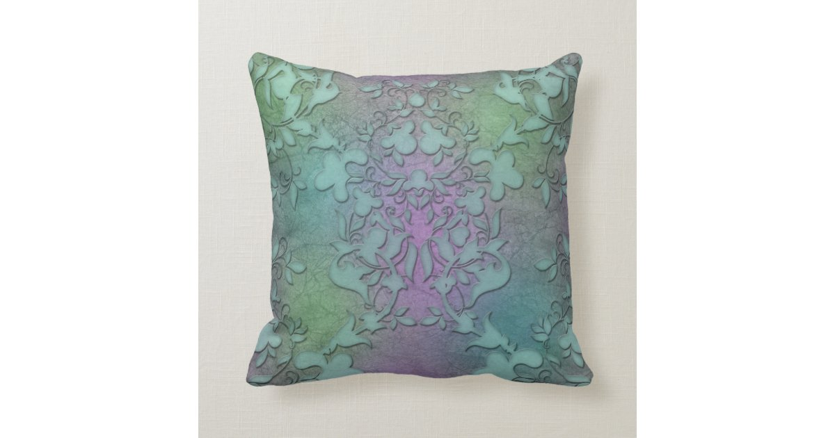Distressed Green Teal Purple Damask Modern Art Throw Pillow Zazzle
