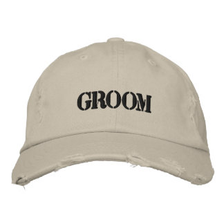 Distressed groom embroidered baseball cap