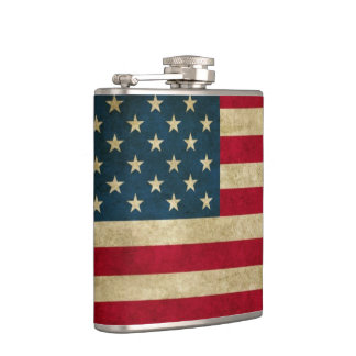 Distressed Grunge American Flag Hip Flasks