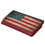 Distressed Grunge American Flag Leather Wallet For Women