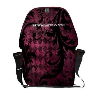 Distressed Grunge Swirl Argyle Pattern rickshawmessengerbag