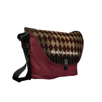 Distressed Grunge Swirl Diamond Argyle Pattern Courier Bag