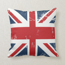 Distressed Grunge UK Flag Union Jack Old Look Throw Pillow