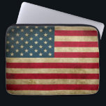 "Distressed Grunge USA American Flag Computer Sleeve<br><div class=""desc"">Distressed Grunge American Flag with Custom Text - Cool Design for you.</div>"