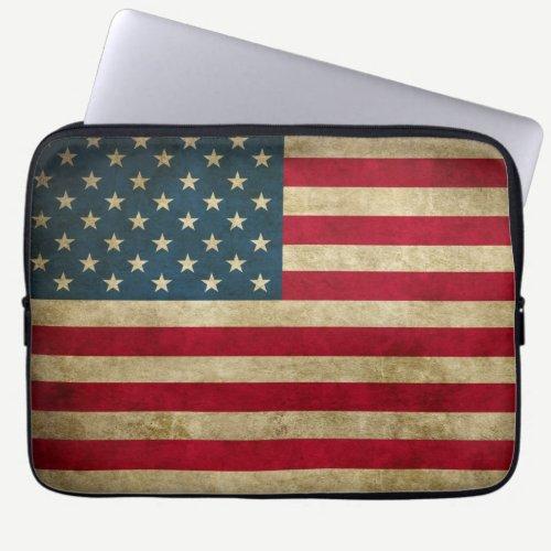 Distressed Grunge USA American Flag Laptop Sleeve
