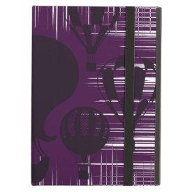 Distressed Grunge Vintage Hot Air Balloons Purple iPad Case