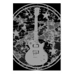 Distressed Guitar Stars Cameo Silhouette Dark BW Large Business Cards (Pack Of 100)