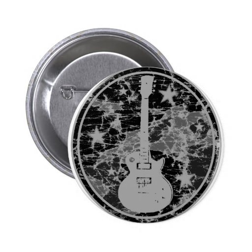 Distressed Guitar Stars Cameo Silhouette Dark BW Pinback Buttons