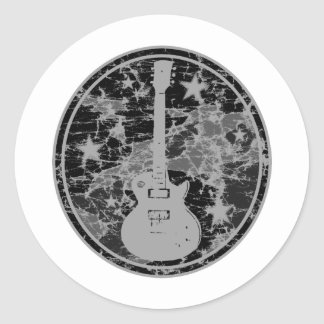 Distressed Guitar Stars Cameo Silhouette Dark BW Classic Round Sticker