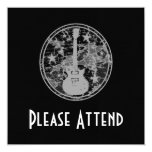 Distressed Guitar Stars Cameo Silhouette Dark BW 5.25x5.25 Square Paper Invitation Card