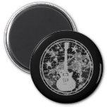 Distressed Guitar Stars Cameo Silhouette Dark BW Magnets