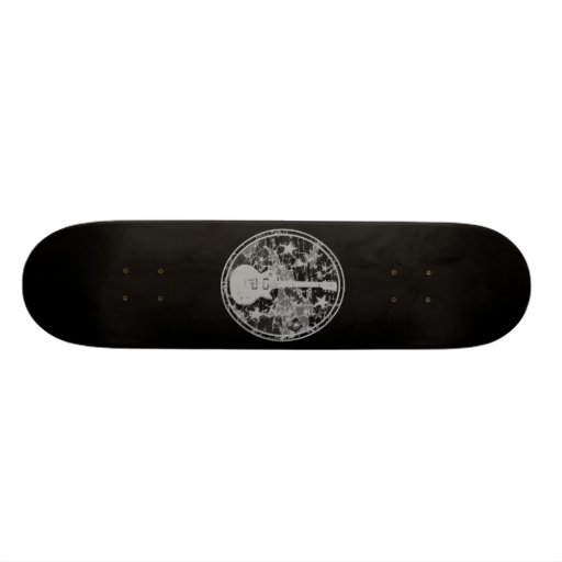Distressed Guitar Stars Cameo Silhouette Dark BW Skate Deck