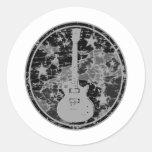 Distressed Guitar Stars Cameo Silhouette Dark BW Classic Round Sticker
