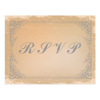 Distressed gunmetal grey vintage scroll RSVP card