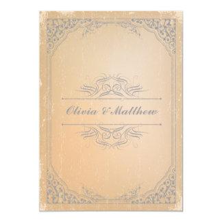Distressed gunmetal grey vintage scroll wedding 5x7 paper invitation card