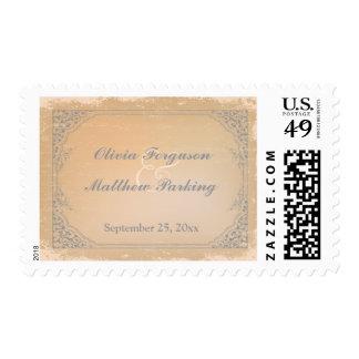 Distressed gunmetal grey vintage scroll wedding postage