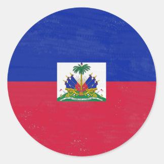 Distressed Haitian flag Classic Round Sticker