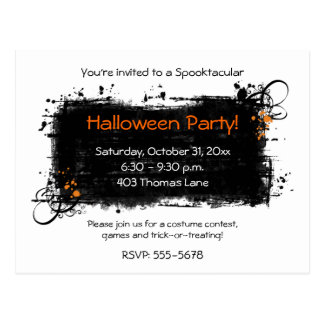 Distressed Halloween Party Invitation Postcards