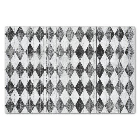 Distressed Harlequin Black and White Diamond Tissue Paper