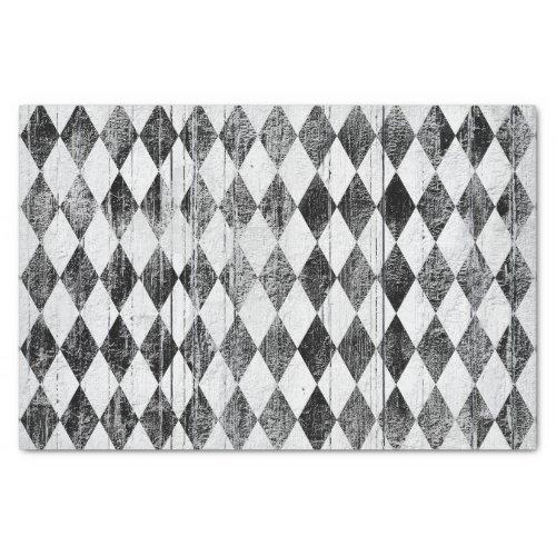 Distressed Harlequin Black and White Diamond Tissue Paper