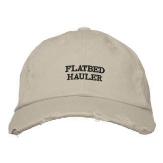 Distressed hat with words on it.