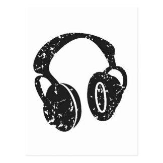 Distressed Headphones Postcard