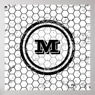 Distressed Honeycomb Monogram Geometric Poster