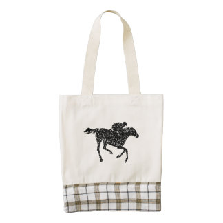 Distressed Horse Racing Silhouette Zazzle HEART Tote Bag