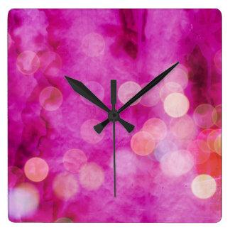 Distressed Hot Pink Fuchsia Bokeh Lights Square Wall Clocks