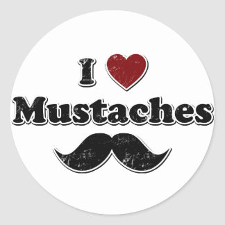 Distressed I Heart Mustaches Design Classic Round Sticker