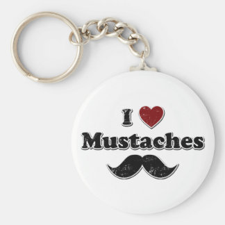 Distressed I Heart Mustaches Design Keychain